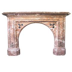 Antique Victorian Rouge Marble Inlaid Fireplace