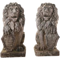Pair of 19th Century English Stone Lions