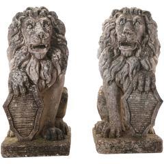 Pair of 19th Century English Stone Lions