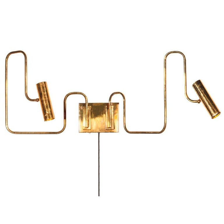 Pivot Double Wall Sconce with Articulating Arms Made in Brass For Sale