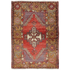 Vintage Turkish Oushak Carpet with Geometric Floral Motifs in Red, Green & Gray