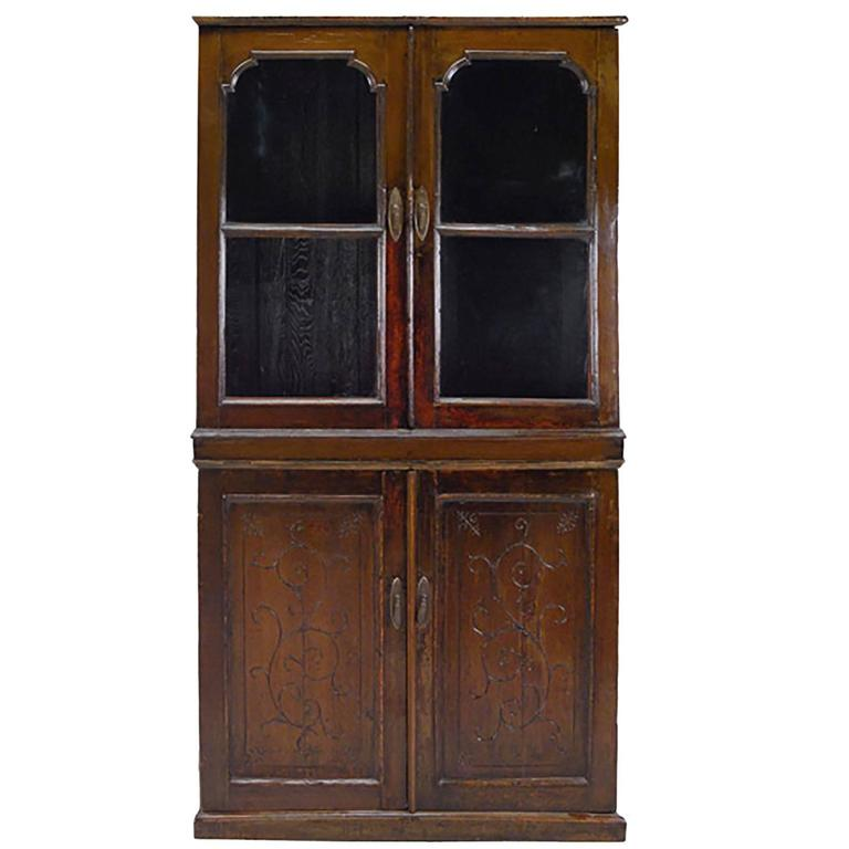 20th Century Chinese Four Door Glass Front Cabinet For Sale At 1stdibs