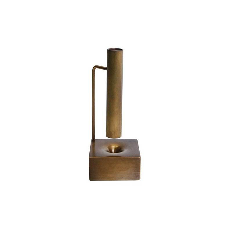 Miniature Bud Vase 3, Made from Brass and Patinated Finish