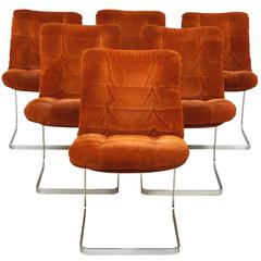 Set of Six French Roche-Bobois Suede Chairs