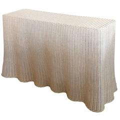 Vintage Draped-Shape Painted Wicker Console