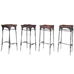 Francois Thevenin Set of Four Barstools, 1970s