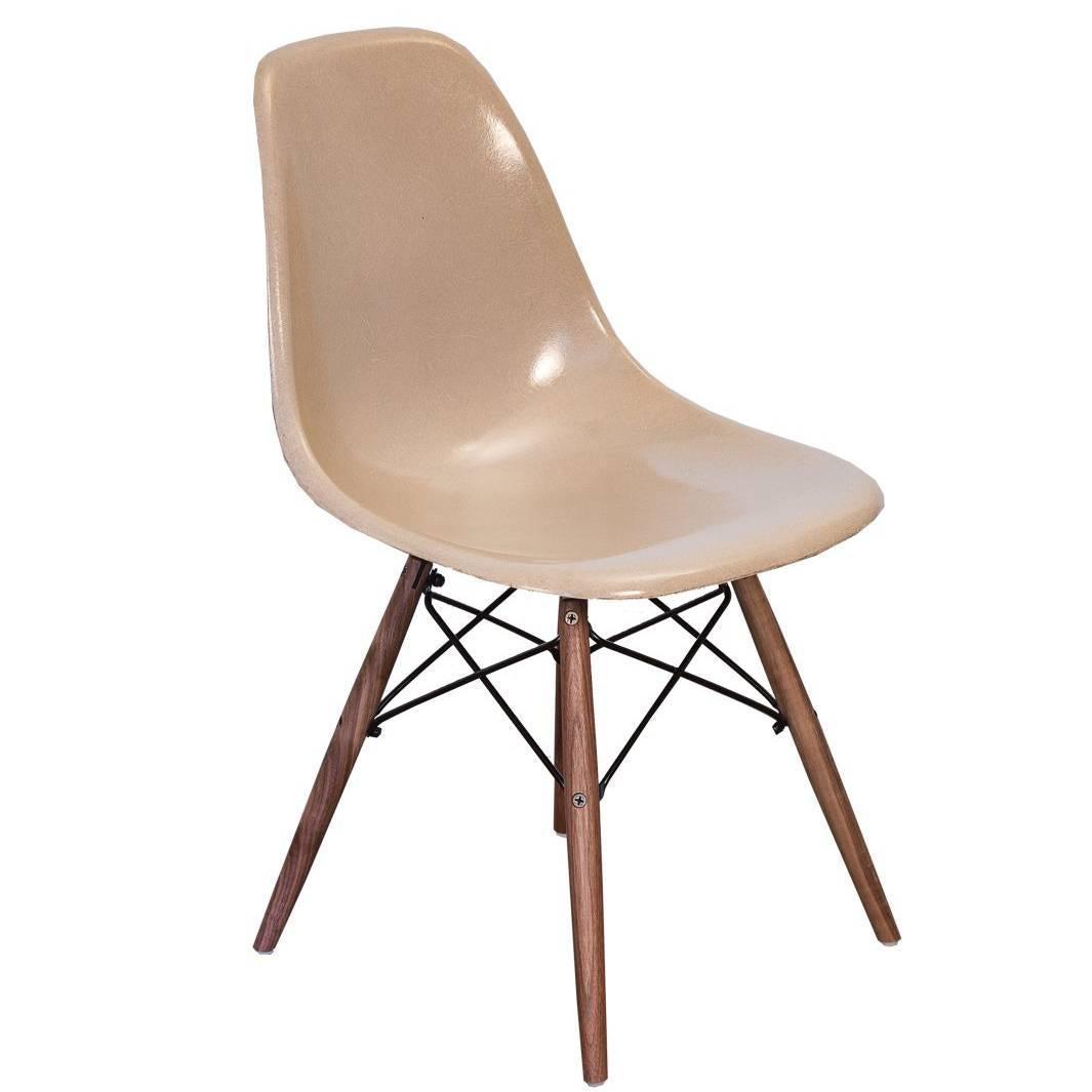 Eames Fiberglass Greige Shell Chair on Walnut Dowel Base