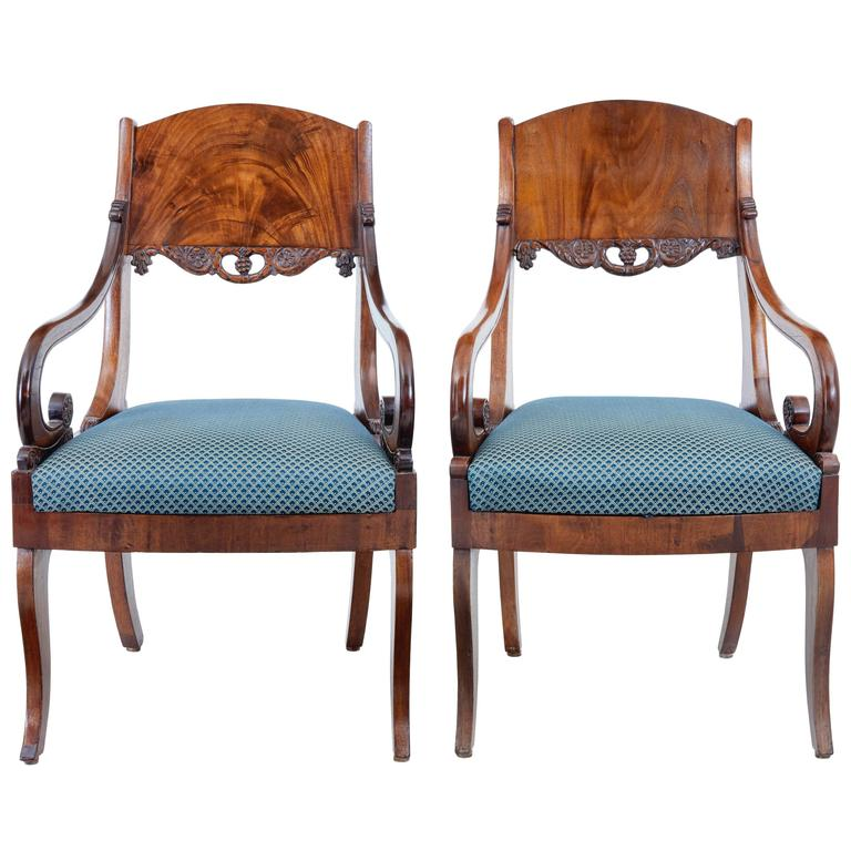 Pair of 19th Century Russian Mahogany Armchairs For Sale