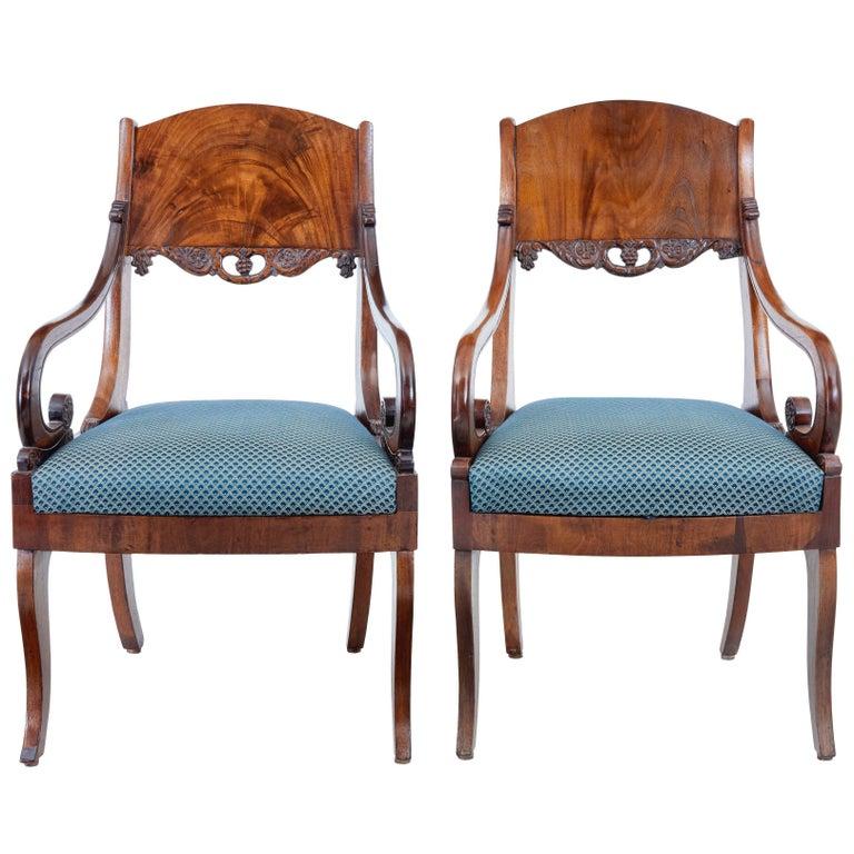 Pair of 19th Century Russian Mahogany Armchairs