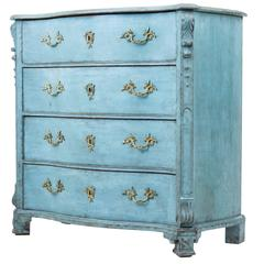 19th Century Swedish Painted Serpentine Chest of Drawers