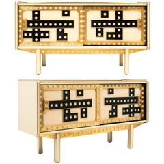 Italian Brass and Murano Glass Credenzas