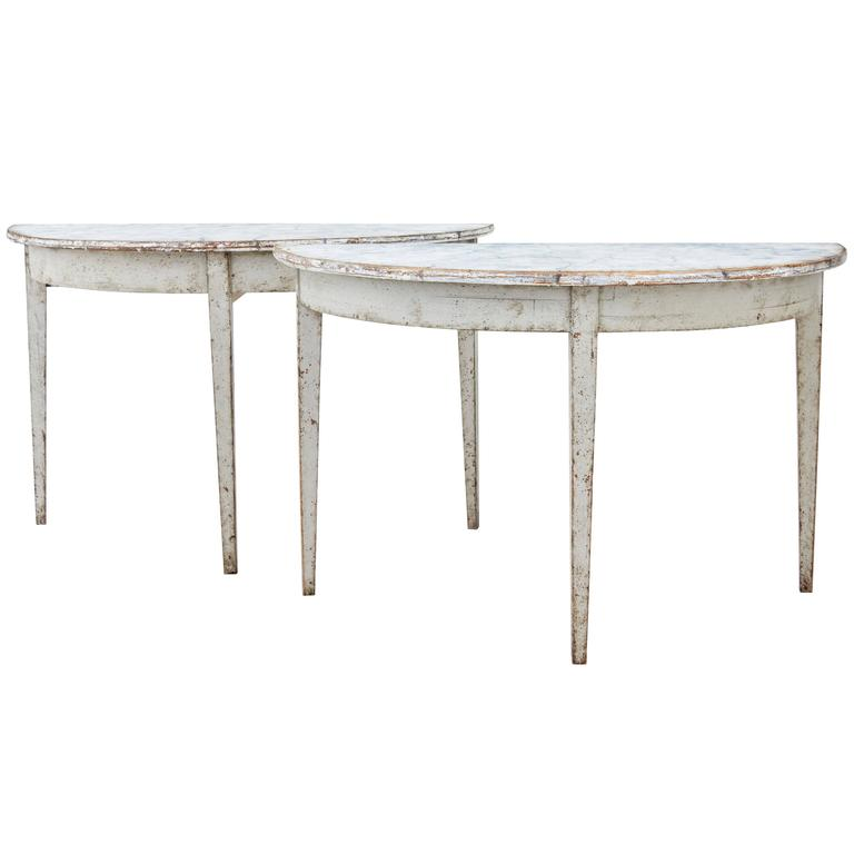 Pair of 19th Century Painted Swedish Demilune Tables