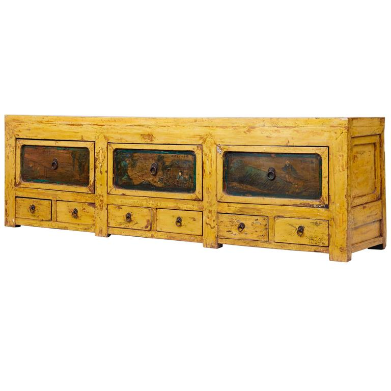 19th Century Chinese Yellow Lacquered Low Sideboard For