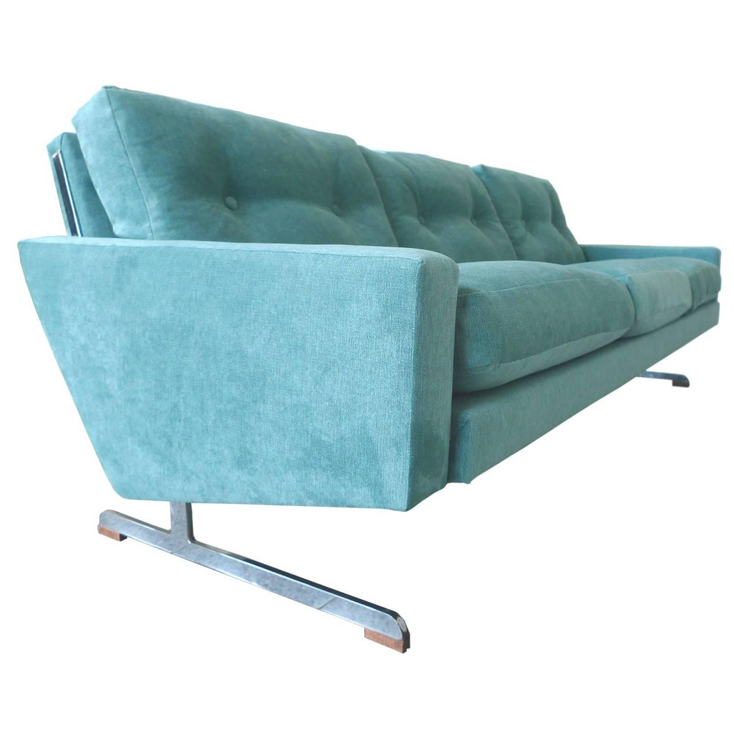 teal danish modern sofa by johannes andersen for sale at stdibs -