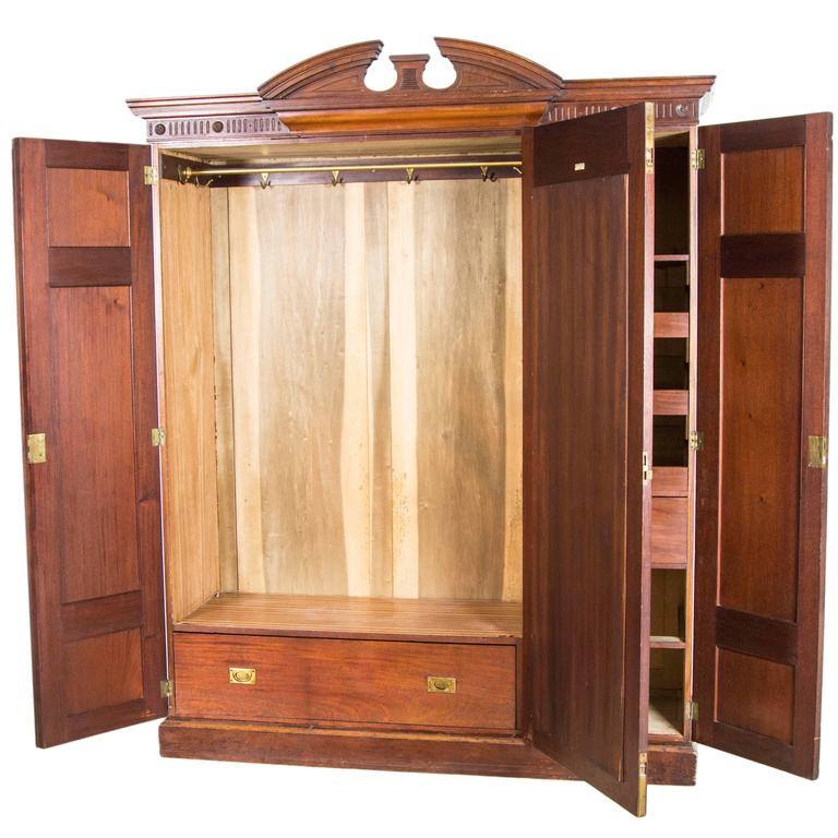 Victorian Three Door Walnut Armoire