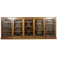 Very Large Early 20th Century Breakfront Mahogany Bookcase