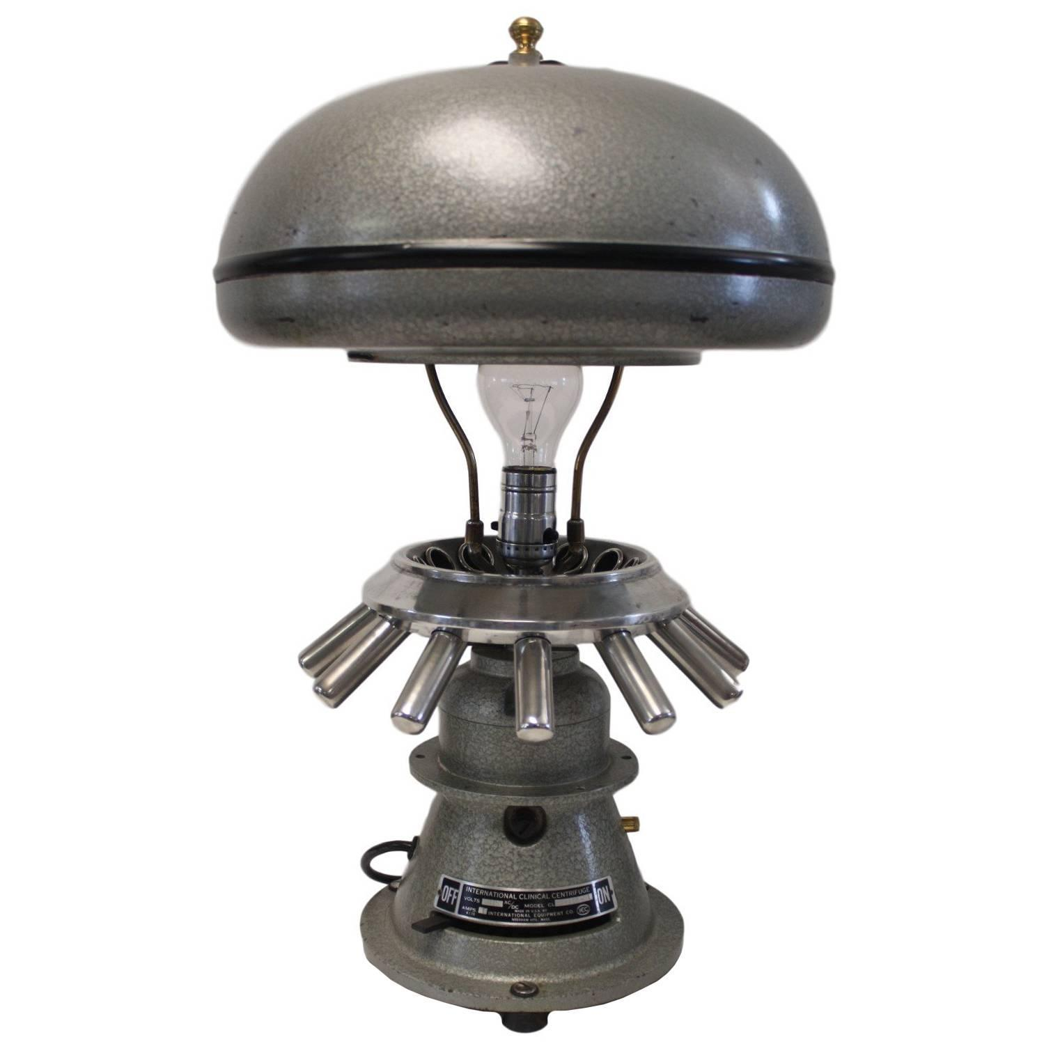 Vintage 40s cast iron metal deco industrial gooseneck desk lamp light - Re Purposed Vintage 1950s Industrial Scientific Centrifuge Table Lamp Light