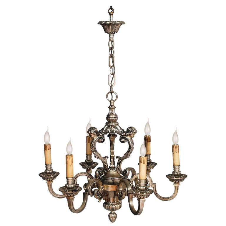 Antique six lights silver plated heavy bronze chandelier baroque antique six lights silver plated heavy bronze chandelier baroque louis xiv 1890 for sale aloadofball Images
