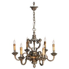 Antique Six Lights Silver Plated Heavy Bronze Chandelier Baroque Louis XIV, 1890