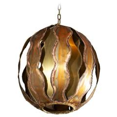 1970s Brutalist Burnished Metal Pendant Light