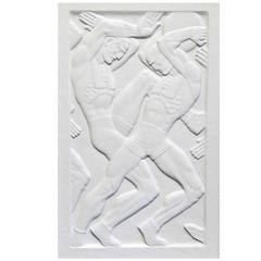 """Fighting for the Medicine Ball,"" Remarkable Art Deco Relief Panel, 1930s"