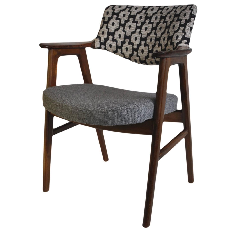 Erik Kirkegaard Rosewood and Cow Hide Pony Skin Desk or Side Chair