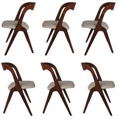 Rare Set of Six Vamo Sonderborg Dining Chairs