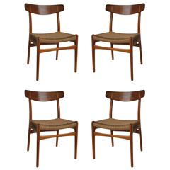 Early Hans Wegner CH23 Dining Chairs, Set of Four