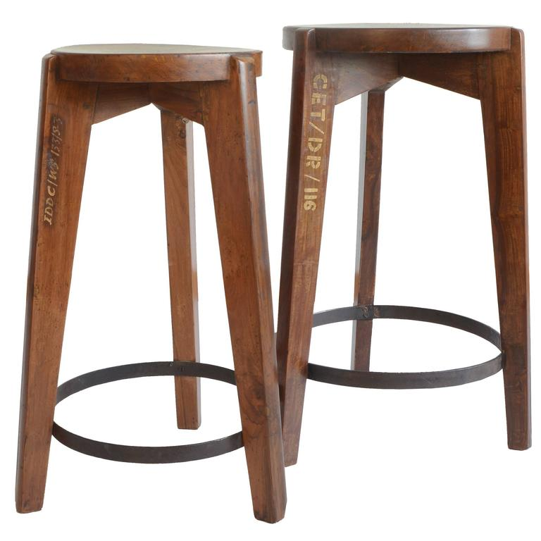 Chandigarh Pierre Jeanneret Stool for Chandigarh in Teak For Sale