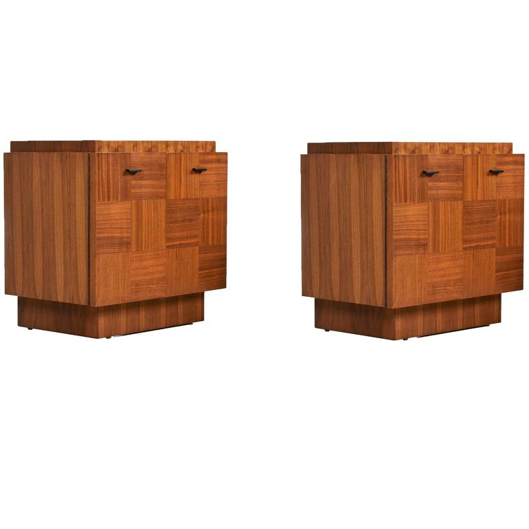 1970u0027s Parquet Front Brutalist Style Walnut Nightstand Cabinet Commodes For  Sale
