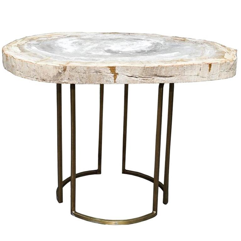 Custom Petrified Wood Slab Accent Table With Brass Base