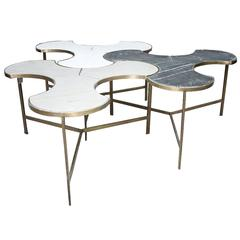 Custom Marble and Brass Trefoil Puzzle Tables