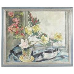 Painting on Wood 20th Century of a Bouquet of Flowers in Front of a Mirror