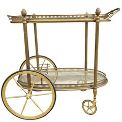 Decorative French Drinks Cart of Brass with Serving Tray Top