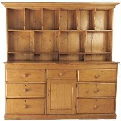 Rustic Irish Pine Dresser with Plate Rack