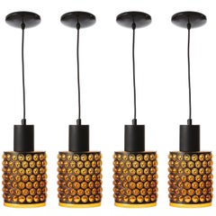 Set of Pendant Lights, Orange Plexiglass Black Metal, 1970s