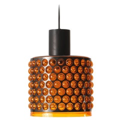 Pendant Light, Orange Acrylic Glass Black Metal, 1970
