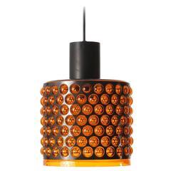 Hängendes Licht, Orange Acryl Glas Schwarzes Metall, 1970