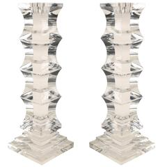 Sculptural Pair of Lucite Candleholders