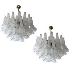 Charming Pair of Petal Murano Chandelier