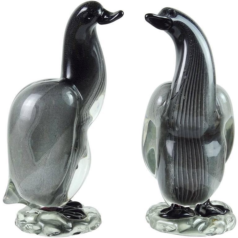 Alfredo Barbini Vamsa Murano Black Sfumato Italian Art Glass Bird Sculptures