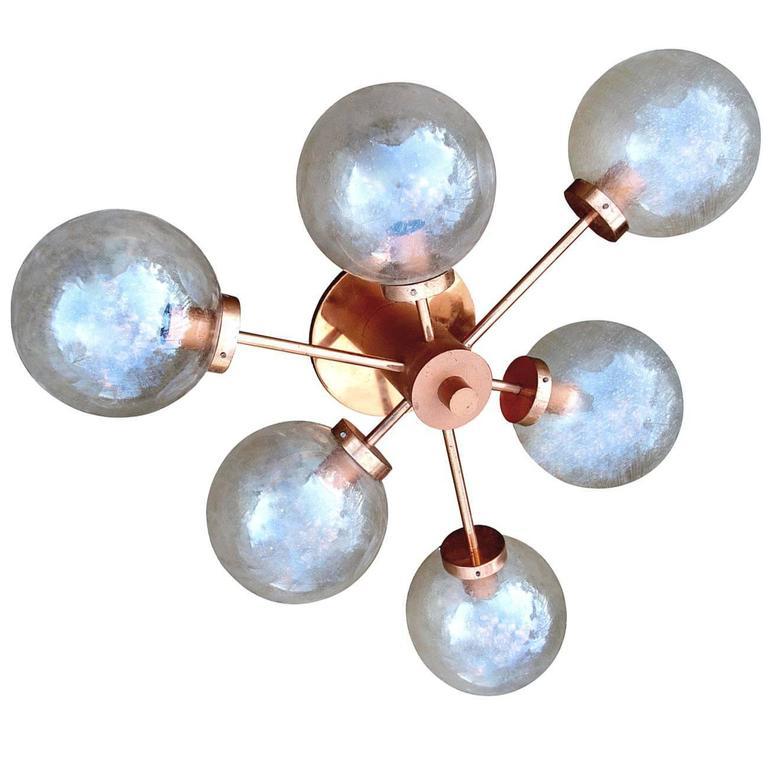 Huge Sputnik Chandelier Flush Mount with Bubble Glass Globes Germany, 1960s