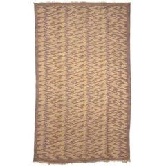 Vintage Mid-Century Modern Wool Kilim Rug with Tiger Pelt Pattern