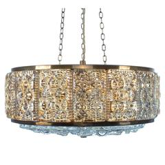 Glass Pendant by Vitrika, 1960s Gorgeous Pressed Glass and Brass Hanging Light