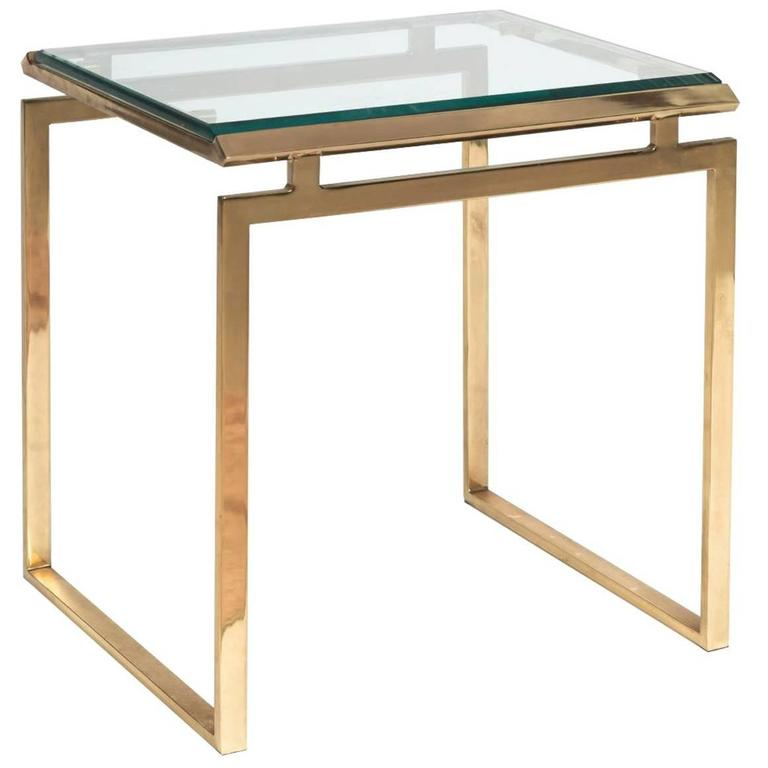 Pierre Vandel Side Table with Inset Beveled Glass