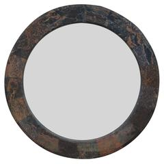 Modern Round Stone and Marble Wall Mirror Karl Springer Style