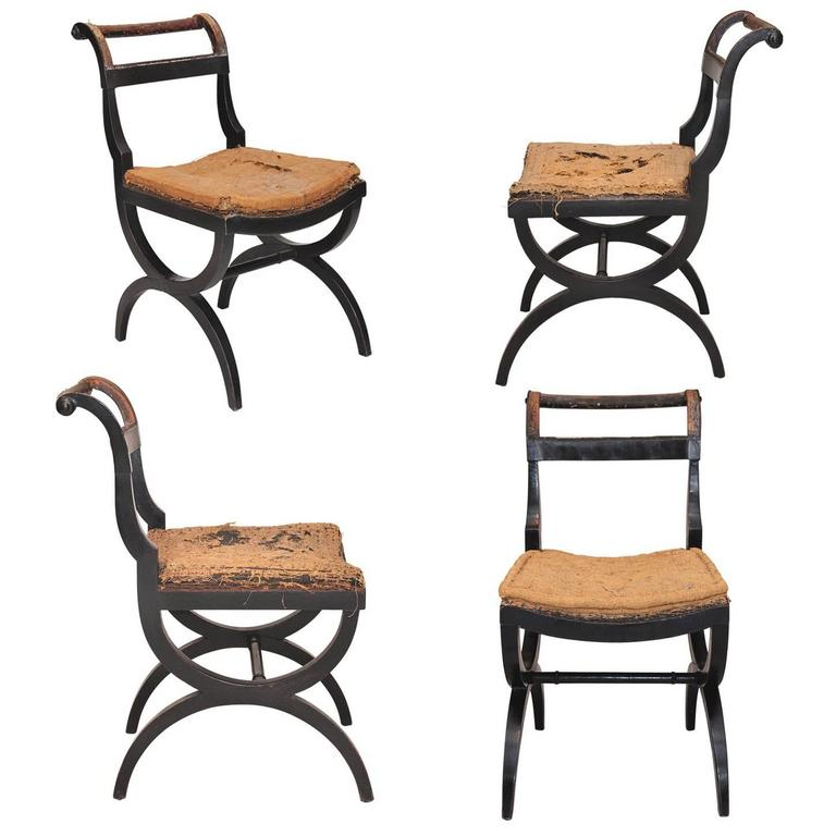 Set of Four English Early 19th Century Regency X-Frame Side Chairs, circa 1810