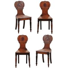 English Set of Four Hall Chairs, Oak with Crest, circa 1830