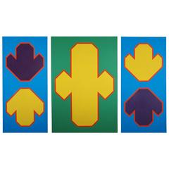 'Triptych' 1966 by Roy Conn, Oil on Three Canvases