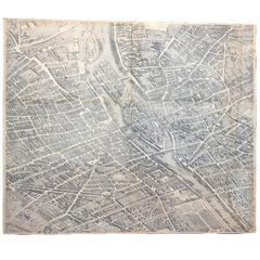 19th Century Copy of Paris Map Acrylic, circa 1739